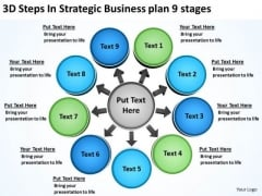 PowerPoint Presentations Plan 9 Stages Circular Flow Process Chart Slides