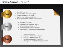 PowerPoint Process Business Growth Shiny Arrows 2 Ppt Slides