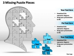 PowerPoint Process Company Missing Puzzle Pieces Brain Ppt Designs