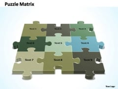 PowerPoint Process Diagram 3x3 Rectangular Jigsaw Puzzle Matrix Ppt Template
