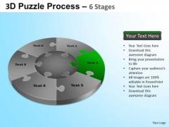 PowerPoint Process Growth Jigsaw Pie Chart Ppt Template