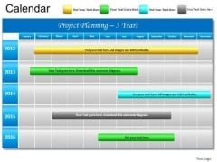 PowerPoint Slide 5 Year Gantt Chart Planning Ppt Templates