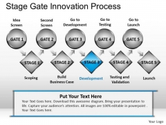 PowerPoint Slide Designs Business Teamwork Stage Gate Innovation Process Ppt Persetation
