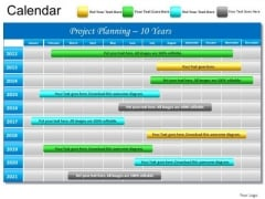 PowerPoint Slide Gantt Chart 10 Year Planning Project Ppt Templates