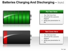 PowerPoint Slide Showing Charged And Discharged Battery Business Ppt Diagrams