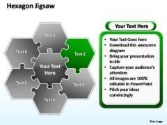 PowerPoint Slides Marketing Hexagon Jigsaw Ppt Slides