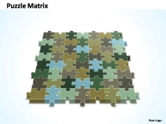 PowerPoint Slides Process 7x8 Rectangular Jigsaw Puzzle Matrix Ppt Slide
