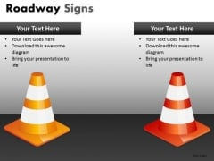 PowerPoint Slides With Orange And Yellow Traffic Cones