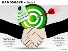 PowerPoint Targets Achieved Handshake Ppt Backgrounds