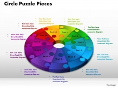 PowerPoint Template Circle Puzzle Pieces Sales Ppt Theme