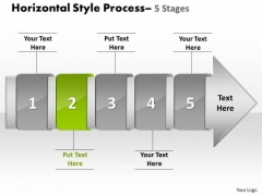 PowerPoint Template Horizontal Flow Course Charts Theme Of 5 Stage Diagram Image