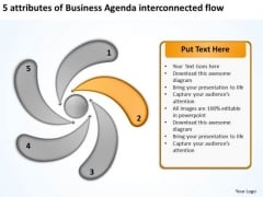 PowerPoint Templates Agenda Interconnected Flow Business Plan Draft