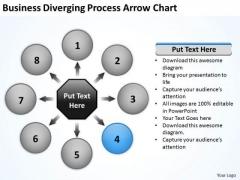 PowerPoint Templates Diverging Process Arrow Chart Target Network