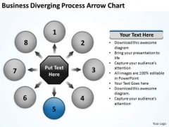 PowerPoint Templates Diverging Process Arrow Target Network