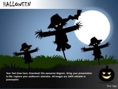 PowerPoint Templates Scary Scarecrows Moonlight Ppt Slides
