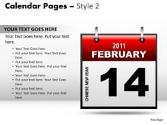 PowerPoint Theme Calendar 14 February Leadership Ppt Designs