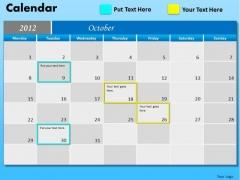 PowerPoint Theme Executive October Calendar 2012 Ppt Themes
