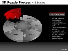 PowerPoint Theme Growth Pie Chart Puzzle Process Ppt Design Slides