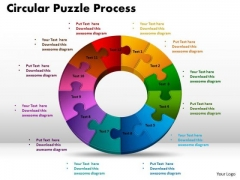 PowerPoint Themes Circular Puzzle Process Marketing Ppt Slide