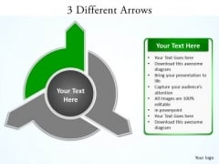 Ppt 3 Arrows PowerPoint Templates Different Directions Quiz Smartart Green