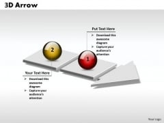 Ppt 3d Arrow Linear Sequence Of 2 Stages PowerPoint Templates