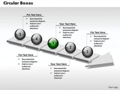 Ppt 3d Connected Circular Boxes Arrows PowerPoint 2007 5 Stages Templates