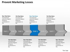Ppt 3d Horizontal Illustration To Avoid Marketing Losses Eight Steps PowerPoint Templates