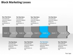Ppt 3d Horizontal Illustration To Block Marketing Losses Eight Steps PowerPoint Templates