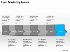 Ppt 3d Horizontal Illustration To Limit Marketing Losses Eight Steps PowerPoint Templates