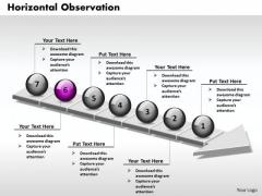 Ppt 3d Horizontal Observation Through An Arrow 7 State Diagram PowerPoint Templates
