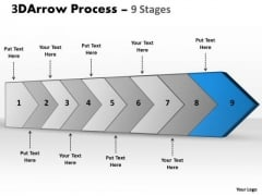 Ppt 3d Illustration Of Arrow Means 9 Stages Custom Communication PowerPoint 10 Image