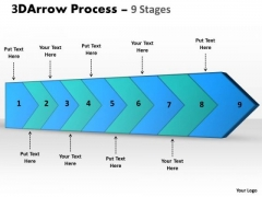 Ppt 3d Illustration Of Arrow Means 9 Stages Custom Communication PowerPoint 1 Image