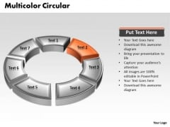 Ppt 3d Orange Animated Multicolor Circular Process PowerPoint Templates