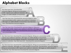 Ppt Alphabet Blocks Abcde With Textboxes Chart PowerPoint Templates