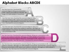Ppt Alphabet Blocks Abcde With Textboxes Image PowerPoint Templates