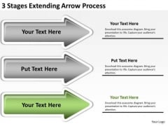 Ppt Arrow 3 Stages Extending Process PowerPoint Templates