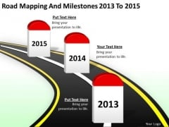 Ppt Arrow Road Mapping And Milestones 2013 2015 PowerPoint Slides