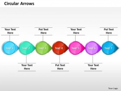 Ppt Attached Circular Arrows PowerPoint 2010 Horizontal Line 7 Stages Templates