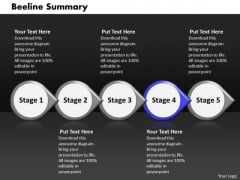 Ppt Beeline Summary Of 5 Stages Using Arrows PowerPoint Templates