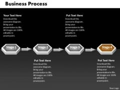 Ppt Brown Stage 3d Sequential Linear Process PowerPoint Templates