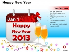 Ppt Cards And Dices Happy New PowerPoint Themes Year Templates