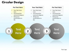 Ppt Circular Design Of Three Text Link Boxes PowerPoint 2007 Templates
