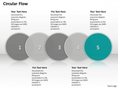 Ppt Circular Motion PowerPoint Flow Showing 5 Steps Involved Development Templates
