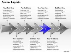 Ppt Colorful PowerPoint Graphics Arrows Describing Seven Aspects Templates