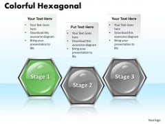 Ppt Colorful PowerPoint Templates Free Download Hexagonal Text Boxes 3 Stages