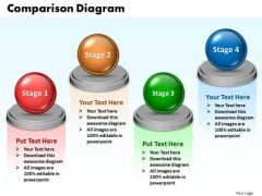 Ppt Comparison Network Diagram PowerPoint Template 4 Phase Templates