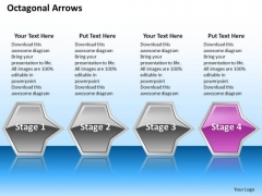 Ppt Consecutive Description Of Octagonal 3d Arrows PowerPoint 4 Stages Pink Templates