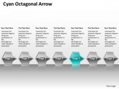 Ppt Consecutive Flow Process Charts Of Cyan Octagonal Arrow 7 Stages PowerPoint Templates