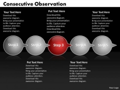 Ppt Consecutive Observation Of 5 Steps Through Shapes Arrows PowerPoint Templates