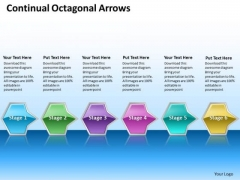 Ppt Continual Series Of Octagonal Arrows Layouts PowerPoint Free 6 Stages Templates